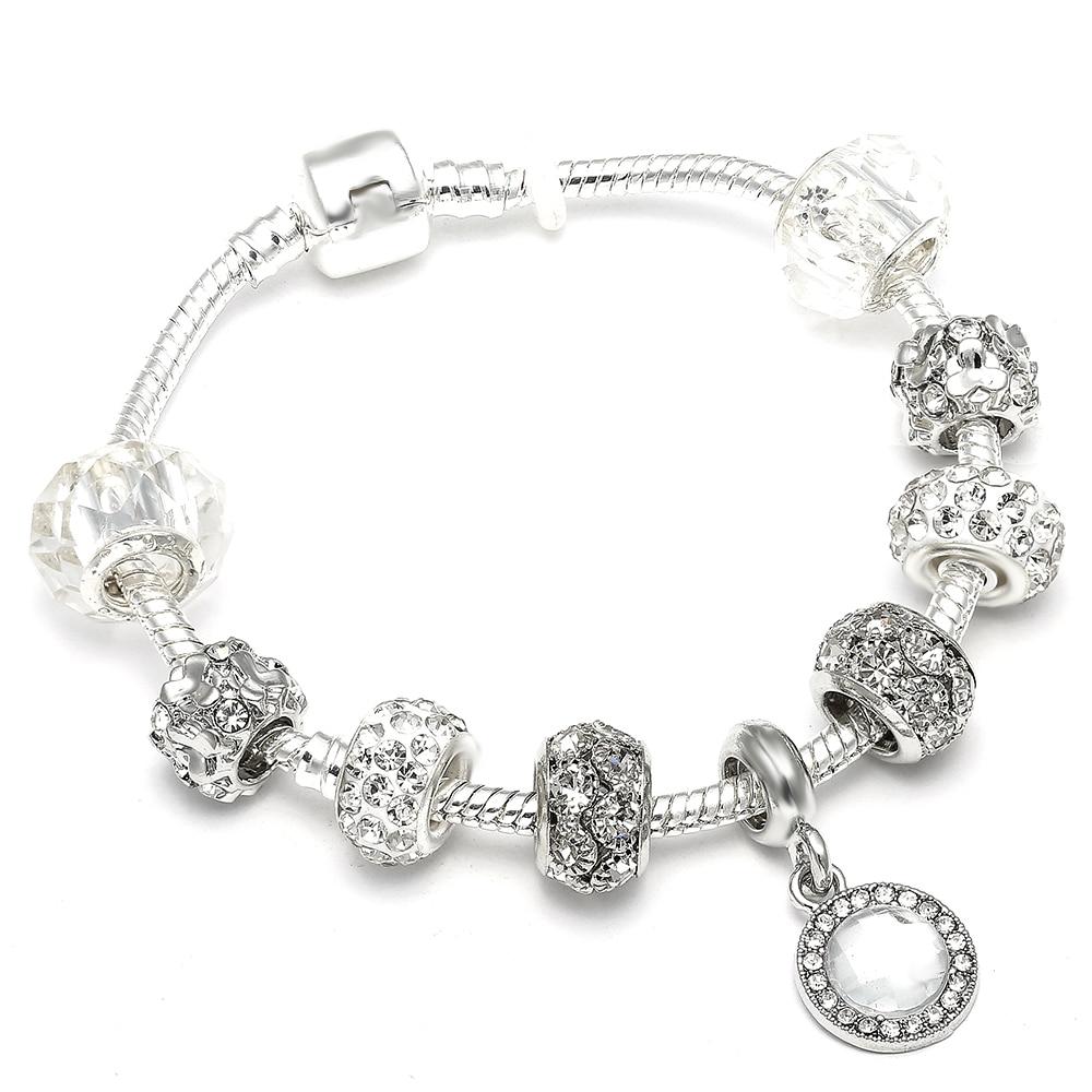 New Arrival White Crystal Charm Bracelets Glass Beads Charm Fit DIY Brand Bracelet & Bangle Woman Jewelry Gifts пандора браслет с шармами