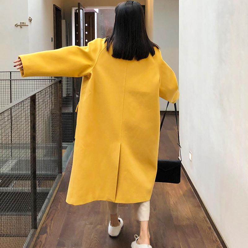 Yellow Décontractés Laine Manteau Printemps shirts black Corne Femelle Automne Survêtement Lâche Solide 2019 De T V771 Bouton Pardessus Mélange Femmes Chaud HgYq6xW