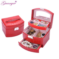 Guanya High Grade Crocodile Print Jewelry Display Box 3 Layers Ring Necklace Jewelry Case Lady Gift Home Storage Supplies