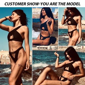 In-X One shoulder bikini 2020 Buckle high cut swimsuit Sexy thong bikini Hollow out bathing suit White push up swimwear women 2