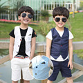 2016 Summer Children Suit Baby Boys Suits Kids Blazer For Wedding Boys Clothes Set Sleeveless Jackets Vest+Boys Pants 2pcs 3-10Y