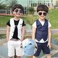 2016 verão crianças meninos ternos Blazer para meninos de roupas coletes colete + calças meninos 2 pcs 3-10Y