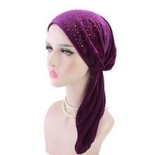 купить New fashion Women rhinestoned velvet Pre-Tied Headwear Chemo Hat Turban Head Scarve Bandana Tichel for Cancer Ladies Turbante по цене 175.2 рублей