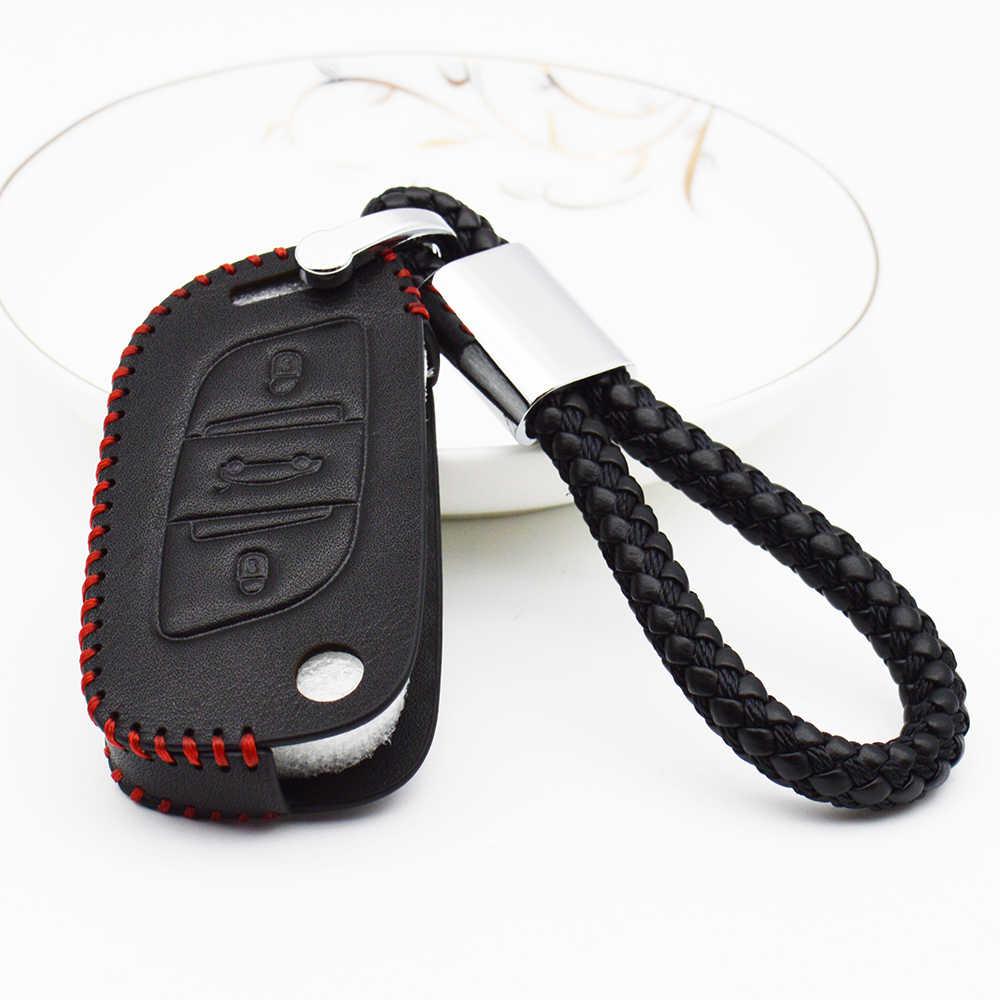 Coche de cuero genuino cubierta para Peugeot 206, 207, 301, 306, 307 Sw 308, 407, 408, 507, 508, 2008 accesorios para llaveros 3008
