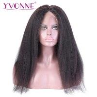 YVONNE Kinky Straight Full Lace Human Hair Wigs Brazilian Virgin Hair Wig For Black Women