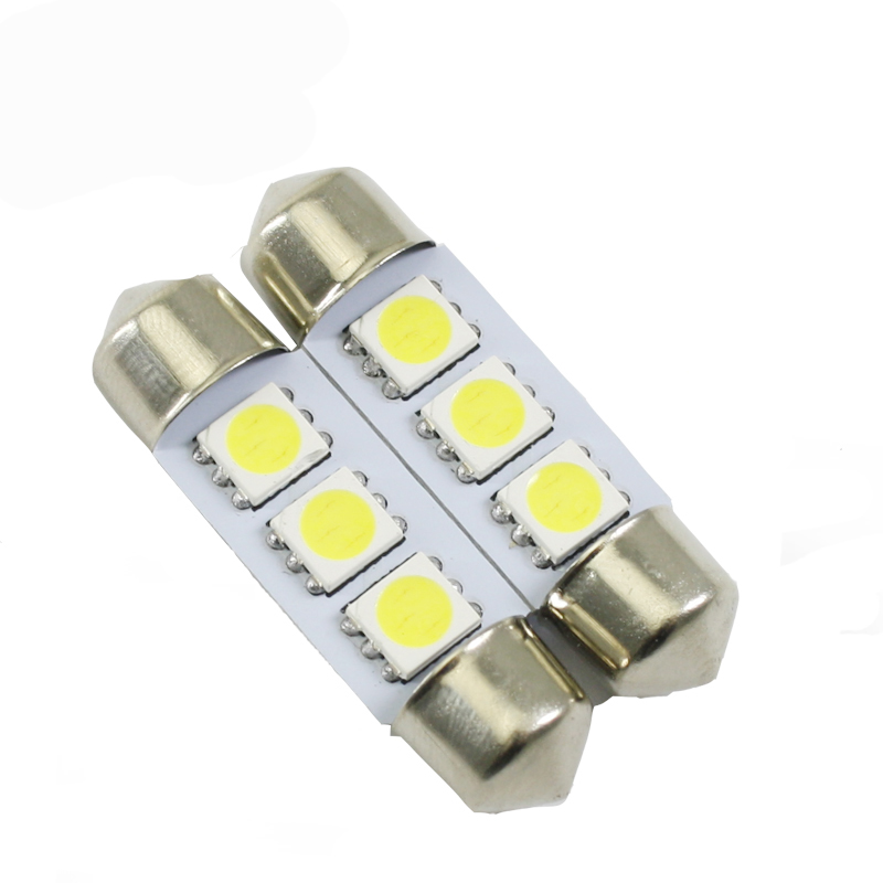 Led car festoon light 3 SMD 5050 6000k white interior bulb reverse dome parking reading lamp auto light soure 36mm 39mm 41mm