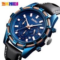 2019 SKMEI новые мужские часы лучший бренд класса люкс военные кварцевые часы кожа водостойкий спортивный хронограф часы мужские reloj