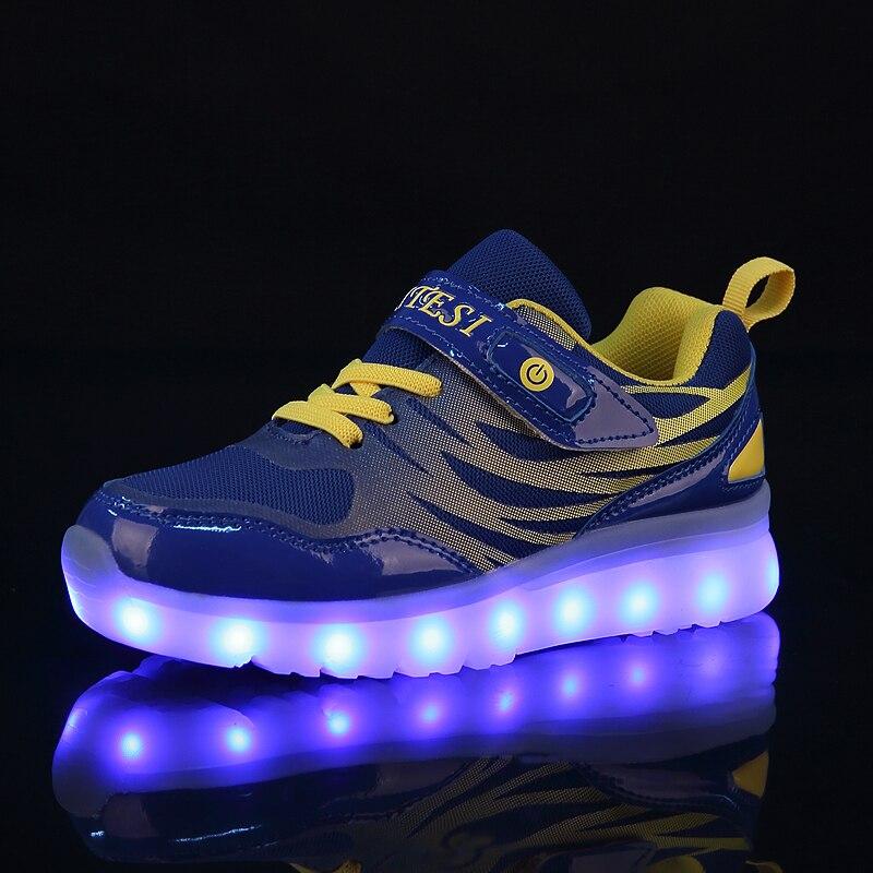 25-37 tamaño nuevo USB carga cesta llevó los zapatos de los niños con iluminar niños ocasionales y las muchachas zapatillas brillantes zapatos enfant