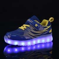 25-37 taille USB nouveau panier de chargement Led chaussures pour enfants avec lumière décontracté garçons et filles baskets lumineuses chaussure rougeoyante enfant