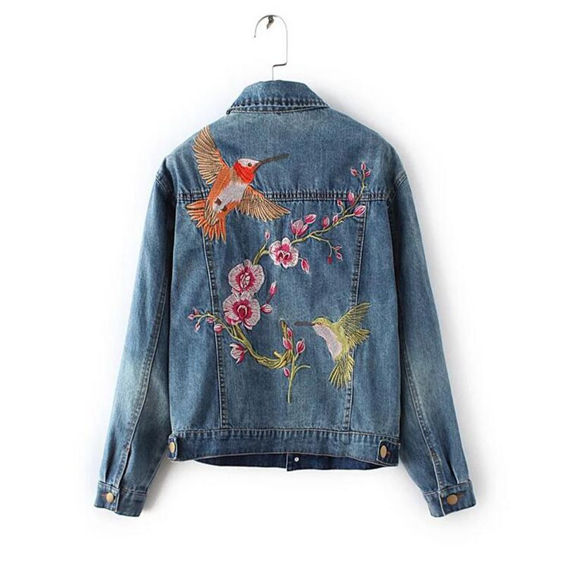 2017 New Womens Flower Embroidered Jeans Jacket Fashion Casual Jacket Womens Jacket Coat Free Shipping