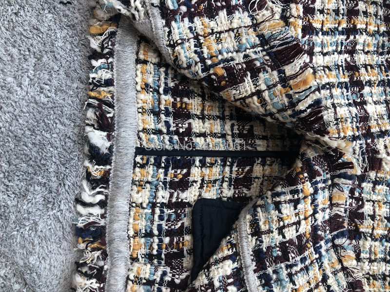 Bouton Multicolore À Nouvelle Avant Garniture De Mode Unique Manteau Tweed Effiloché Laine 2018 Vente Multi Femme Manches Doublure Longues Sans qFBwgPEg