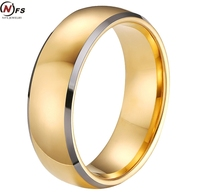 NFS Double Cut Tungsten Ring Gold Color Round Face Simple Tungsten Carbide Male Ring Cheap Price