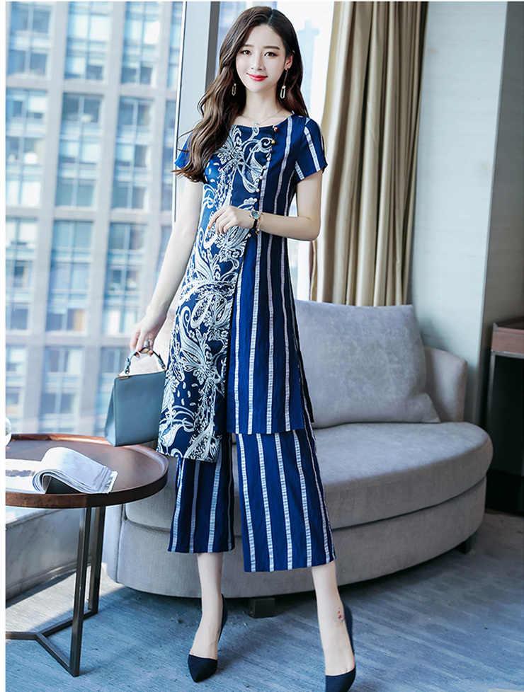 L-5XL ฤดูร้อนพิมพ์ลาย 2 ชิ้นชุดผู้หญิง Plus ขนาดสั้นแขนยาวเสื้อและกางเกงขากว้างชุดสำนักงาน elegant ชุด