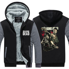 2016Winter Men Tops The Walking Dead Printed Hoodies Star Wars Jacket Homme Thicken Zipper Man Coats Plus size
