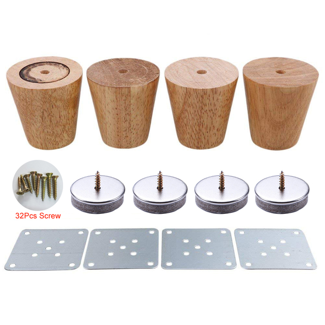 4 Piece 6cm Furniture Parts Sofa Legs Solid Wood Tapered Reliable