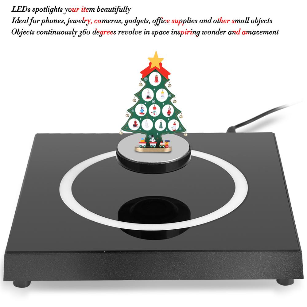 360 Degree LED Rotating Magnetic Display Levitation Floating Magnetic Floating Shelf Brackets Display Platform Holder