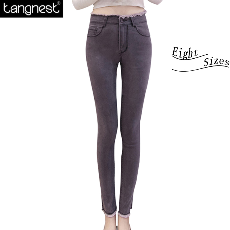TANGNEST 6 XL Plus Size High Waist Denim Jeans Women 2017 Casual Burr Skinny Pencil Pants For Ladies Long Trousers Femme WKN574 new pencil pants high waist elastic denim long jeans skinny trousers plus size for woman women ladies feminino