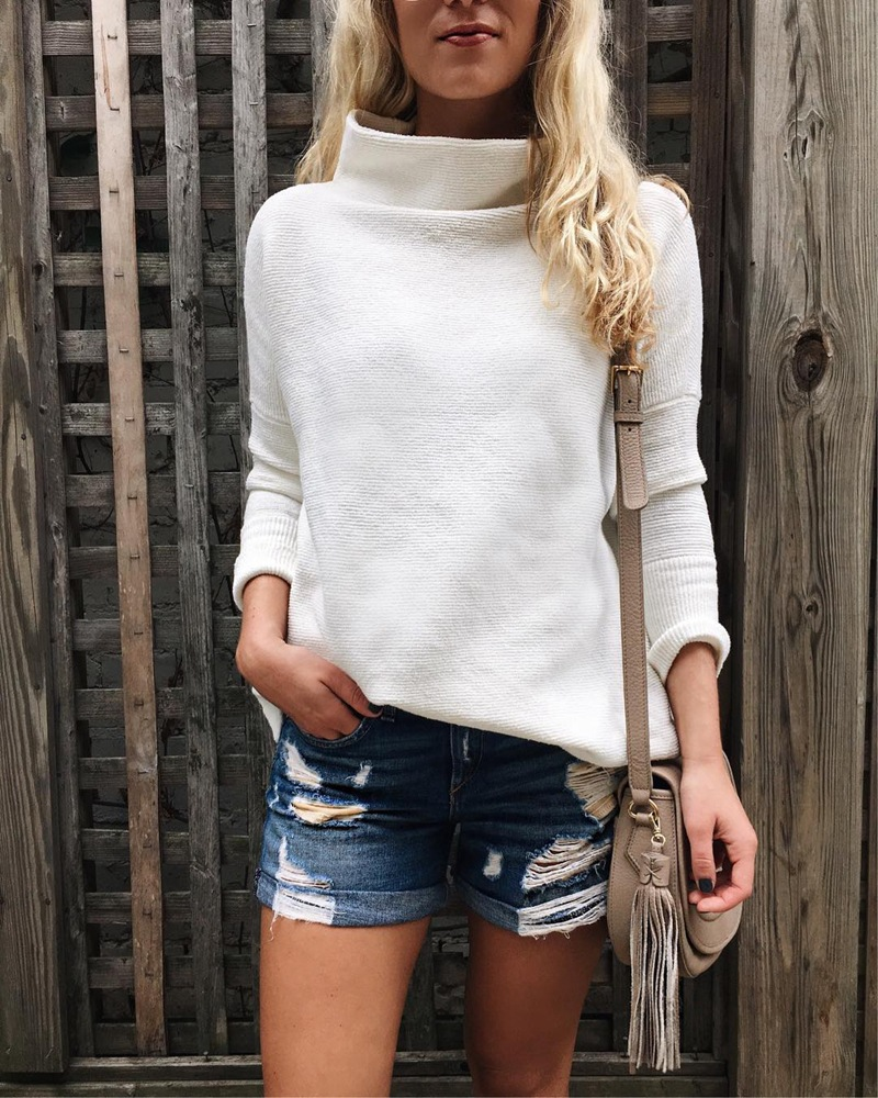 LOSSKY Long Sleeve Autumn Winter Sweater Women White Knitted Sweaters Pullover Jumper Fashion 18 Turtleneck Sweater Female 8