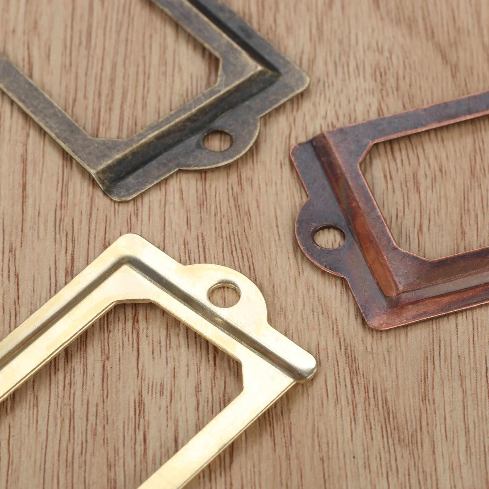 5pcs Antique Label Holder Metal Name Card Frame Furniture Cabinet Drawer Box