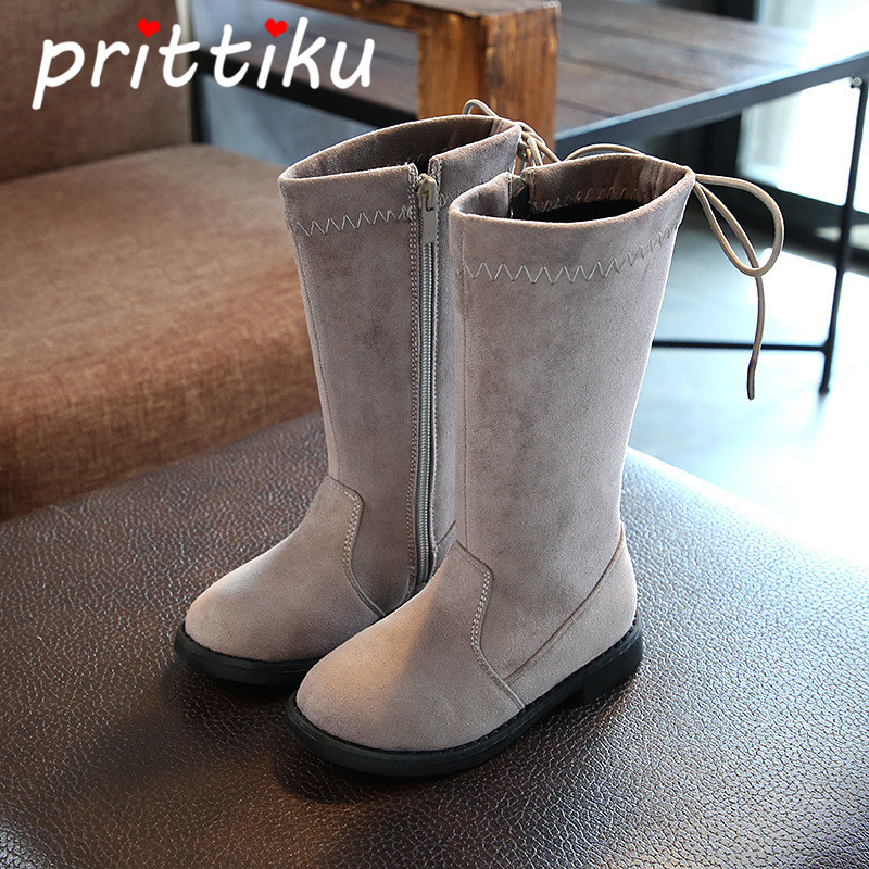 Baby Girl Winter Warm Long Riding Boot Toddler Kid Knee-high White Microfiber Leather Booties Little Children Fashion Black Shoe