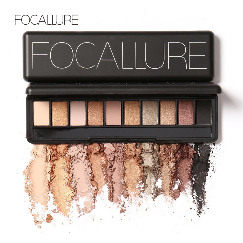 Focallure New Palette Eyeshadow Natural Eye Makeup Light Shimmer Matte Eyeshadow Palette Set 10 Shades With Brush
