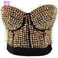 Corzzet Steampunk Bustier Up Bra Dance Clubwear Gold Metallic Gathers Spike Studded Rivet Sexy Lingerie Women  Push Up Brassiere