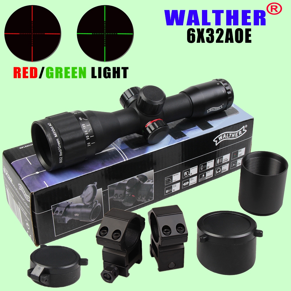 WALTHER 6X32 AOE Tactical Scope Riflescopes Optics Hunting Scope Red&Green Dot Illuminated Reticle Fiber Sight Riflescope прицел walther point sight ps22