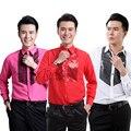 S-3XL 6 colores 2015 nuevos mens camisas de vestir para hombre camisas de ropa estudio rendimiento lentejuelas camisa de manga larga envío gratis