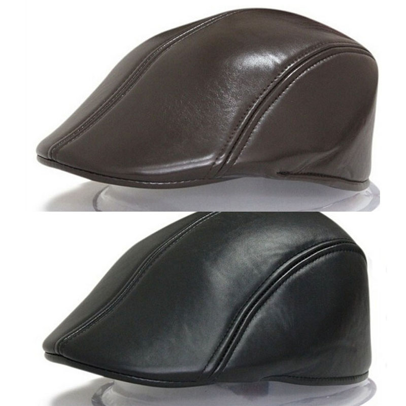 High Quality Winter Duckbill  Beret Solid PU Leather Flat Cap For Men Boina Hombre Visor Hat Planas Snapback Hat