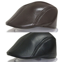 High Quality Winter Duckbill Beret Solid PU Leather Flat Cap for Men Boina Hombr