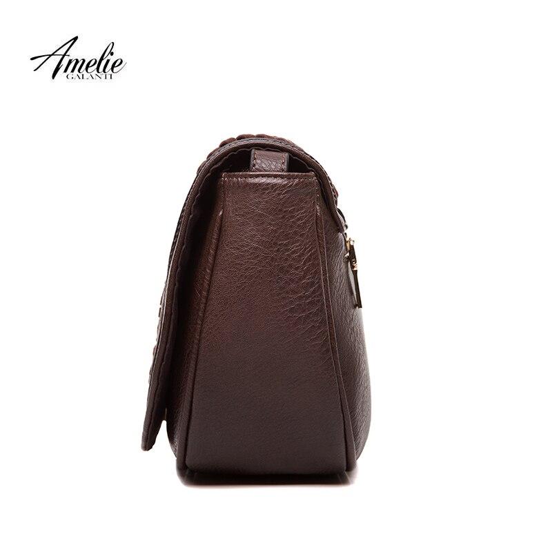 AMELIE GALANTI Vintage women crossbody bags causal messenger bag saddle solid soft fashion high quality cover bag famous design