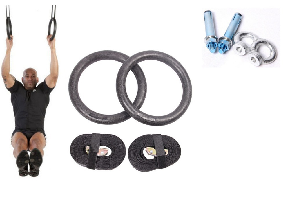 Gym rings contain expansion bolt 1pair/lot Portable Gymnastics Rings home fitness strength training pull up