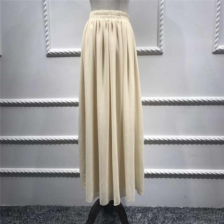 634b96be406 9 colors Muslim Womens' Elegant Modest Muslim Islamic skirt New fashion  islanmic Women Ankle-Length Long chiffon Skirts WJ2266