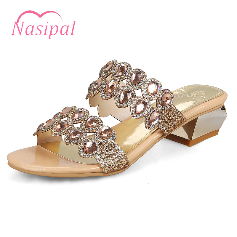 2018 Nasipal Cristal Plage Sexy Talons C442 or Or Chunky Chaussures Mode forme Sandales Casual Gladiateur Bleu Femme Bling Plate De Nouvelle RL5j4A