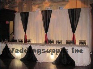 White Wedding Backdrop With Black Detachable Swag Drape And Curtain Decoration Free Shipping