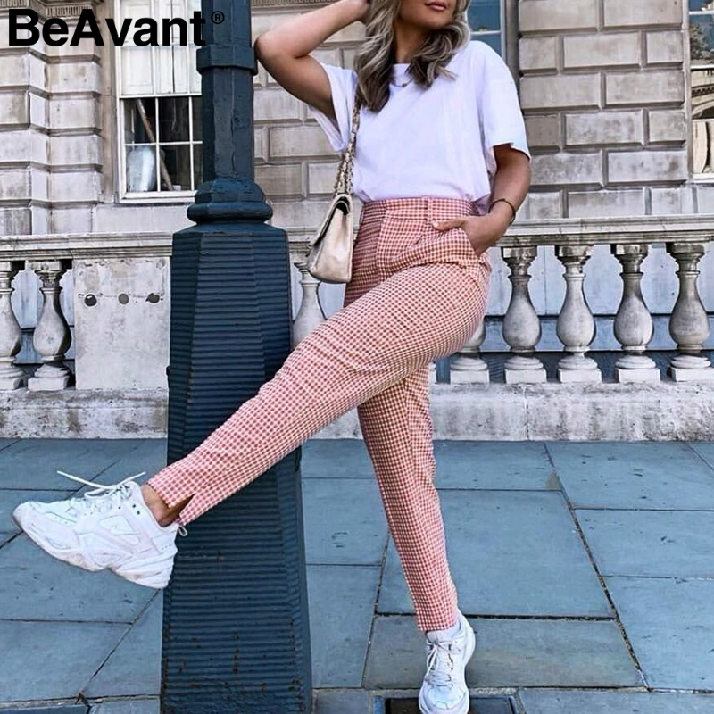 BeAvant Pink plaid casual   pants   women 2019 Summer vintage work   pants     capris   female Straight office ladies British style trousers