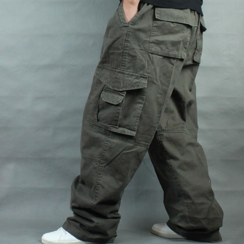 Hip Hop Cargo Pants Men Casual Cotton Pants Straight Loose Baggy Streetwear Joggers Wide Leg Trousers Plus Size Man Clothes