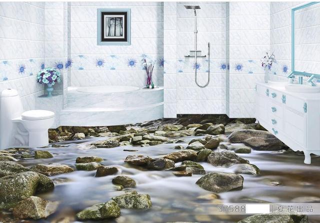 Behang In Badkamer : Aangepaste 3d vloer behang badkamer kleine rivier waterdicht behang