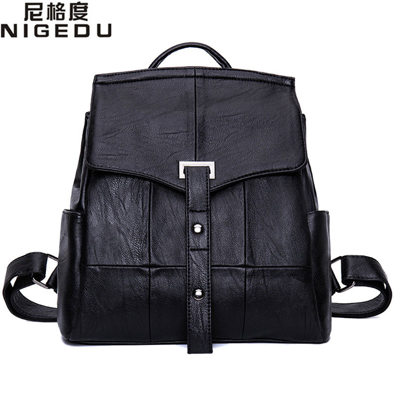 NIGEDU Brand Luxury Women Backpack high quality PU Leather School Backpacks Black Book Bags Large Capacity Rivet Shoulder Bag nigedu brand genuine leather women backpacks large capacity female school bag laptop backpack girls shoulder travel mochila