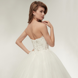 Fansmile 2019 Elegant Luxury Lace Wedding Dress Vintage Ball Gowns Vestido De Noiva Plus Size Customized FSM-502F 5