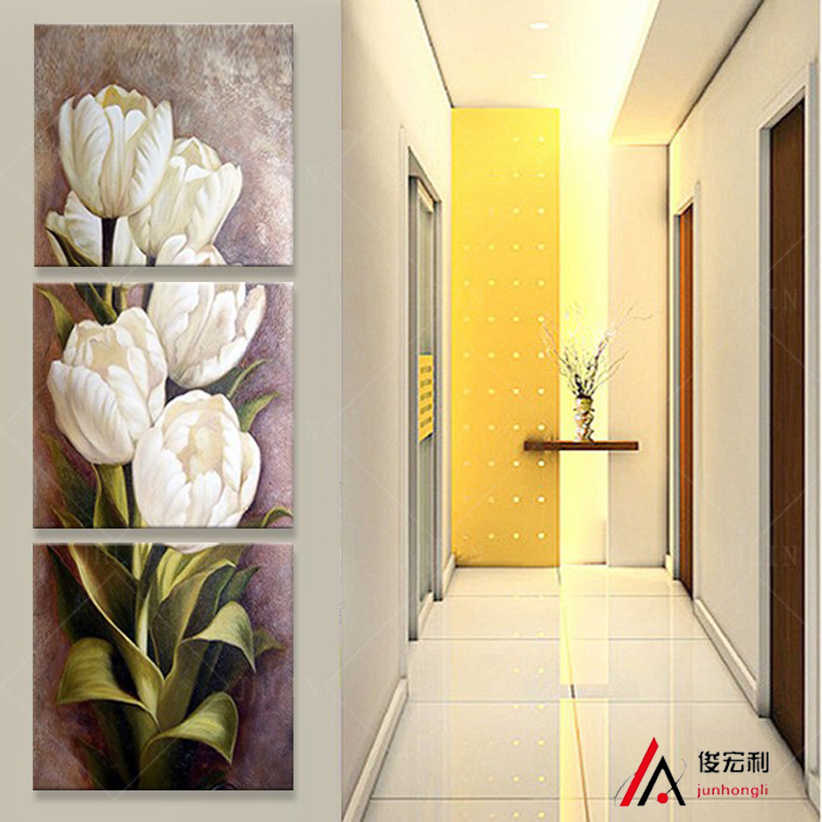 3 pieces Modular pictures decoration art White tulips Flower Corridor oil painting Print of living room canvas print on the wall