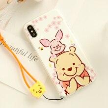 For iPhone XS MAX cartoon Winnie bear case for X 6 6splus cute animal sakura phone cover XR 7/8 plus hard case+ strap