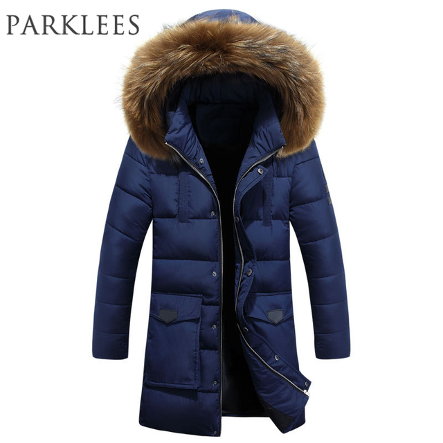 Nieuwe Trend Marineblauw Parka Mannen Moncler Homme Hiver 2017 Winter Jas  Mannen Mode Grote Fur Hooded db1caed72e5