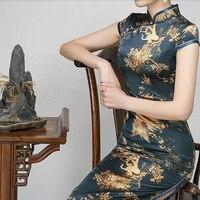 Traditional Chinese Dress Mujer Vestido Women's Silk Qipao 2018 new silk cheongsam female elegant long retro cheongsam