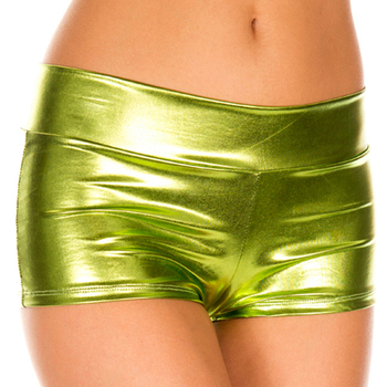 Candy Color PU Faux Leather Shiny Pole Dance Booty Shorts Clubwear Mini Short Sexy Women Hot Short Mujer Pantalon Corto Mujer image