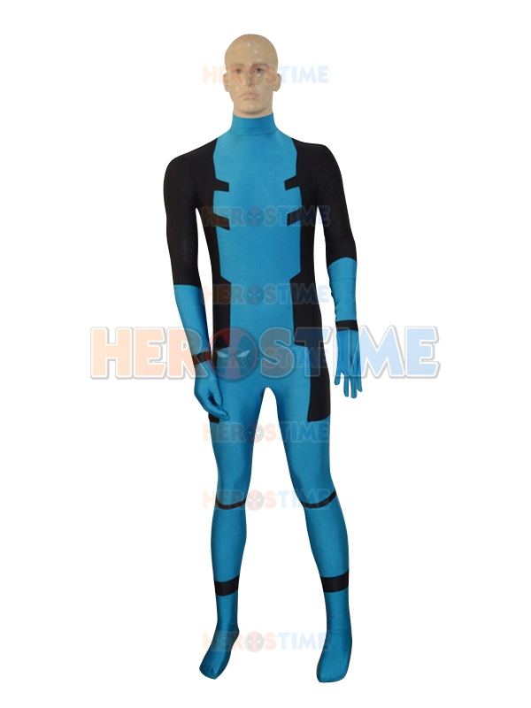 Free Shipping Custom Made Blue Color Deadpool Mens Costume Zentai Full Body Suit Lycra Spandex Deadpool Cosplay Costumes
