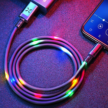 Volume Control Dancing LED Light Flash Cable for iPhone 6 7 Data Sync 2A Fast Charging USB Cable Micro Type-C Phone USB C Cable