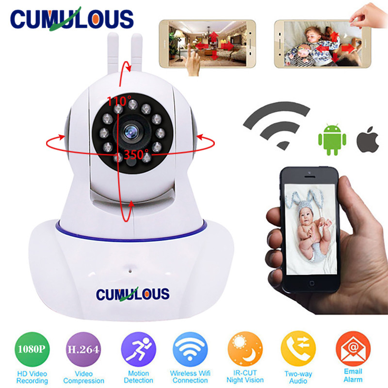 CUMULOUS WiFi IP Camera Wireless Full HD 1080P Network CCTV Home Security Camera Wi-Fi P2P Two-Way Audio IR-Cut Night Vision wifi ip camera 720p wi fi security camera wireless hd two way audio night vision infrared ir cut wireless camera p2p h 264 cmos