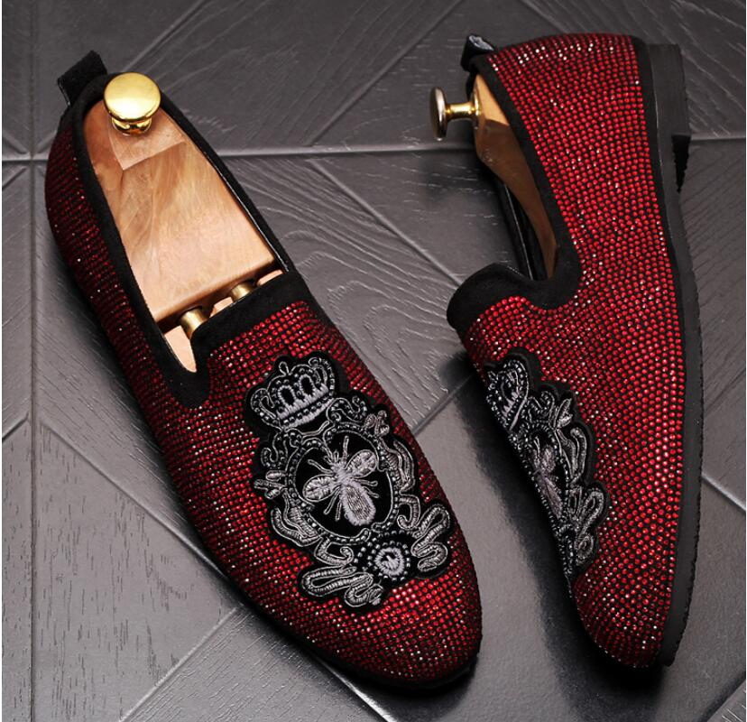 Handmade Gold Rhinestone embroidery bees Men's Suede Loafers Wedding Party Men Shoes Luxury Noble Elegant Dress Shoes for Men 2