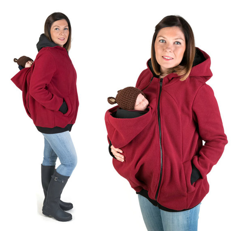 2017 autumn/winter hot style pregnant women with three - in - function mother kangaroo hoodie jacket L288 kangaroo pockets cold shoulder hoodie